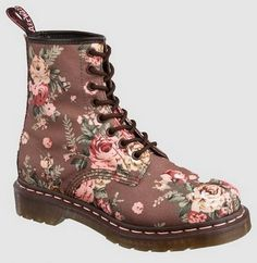 Dr Martens 1460 W 8 Eye Boot Taupe Victorian Flowers$130.00 http://www.wildfree.com/prods/dmr11821260.html #drmartens #backtoschool #boots #floralboots #flowerboot #fallfashion #drmartenboots
