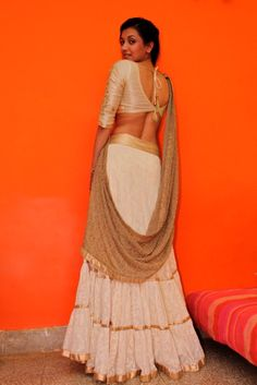 One of my favourite creations as yet - the off white and gold half sari Off White, White Gold, Ethnic, Sari, Couture, My Favorite Things, Studio, How To Wear, Women