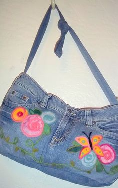 Butterfly Bum Upcycled Denim Booty Bag with Needle Felted Design. Lorrie your so tallented!!