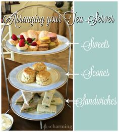 How to Serve Afternoon Tea -- Sandwiches on the bottom, scones in the middle, sweets on the top! -- Often Charming