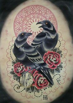 Ravens tattoo idea- like the flash style, mandala, and flowers (magnolias/camellias instead of roses)