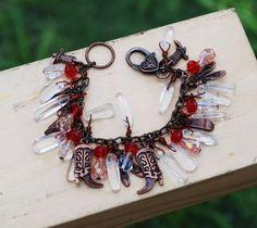 Assemblage Shoe Charms Bracelet Crystal Quartz Cowgirl Ballet Cinderella Shoes #jeanninehandmade #Wrap