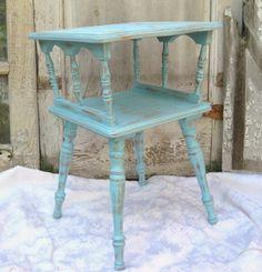 Wood side table, aqua shabby table, small table on Etsy, $149.00