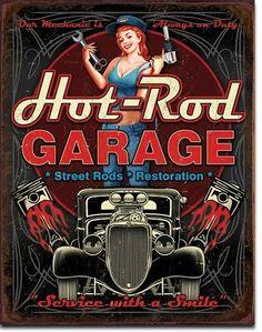 Hot Rod Garage Street Rod Restoration Tin Sign - Sam's Man Cave