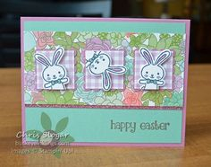 These playful bunnies look like they are tumbling through a spring garden, thanks to the colors and patterns of the Succulent Garden designer series paper. This is almost as exact CASE of a swap card I received from my upline Mindy Gray (pictured below). I simply turned her design on its side so I could add a greeting (retired). It's super-cute this way, too, isn't it? Did you know that you can choose to receive Succulent Garden designer paper for free with a $50 order? It is one...