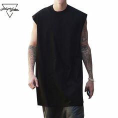 Fashion Extended Sleeveless Tops Men's Arc Hem Punk Rock Cotton Vest Hip Hop Man Loose Tank Tops
