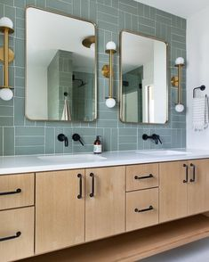 Call us obsessed, but we can't get enough of the bold design of this master bath vanity! Between the playful tile placement, mixed metal fixtures, and oak cabinetry enhanced with our Lily pulls in Flat Black, we can't decide what we love most 🖤 🖤 Herringbone Fireplace, Fireclay Tile, Upstairs Bathrooms, Construction Design, Texas Hill Country, Shower Floor, Fireplace Surrounds, Tile Design, Bathroom Interior