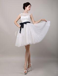 Colarinho Transparente Cauda até ao joelho Com renda De renda Vestido de noiva