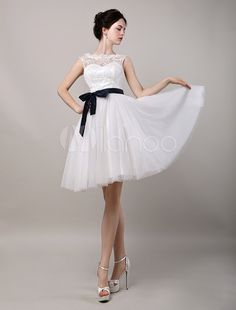 A-Line Illusion Neckline Lace Bodice Knee-Length Tulle Wedding Dress With Satin Sash