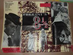 Fellini's 8 1/2 (1968). Uk Quad for the 80s rerelease of the film.  Director: Federico Fellini Writers: Federico Fellini (story), Ennio Flaiano (story). Stars: Marcello Mastroianni, Anouk Aimée, Claudia Cardinale