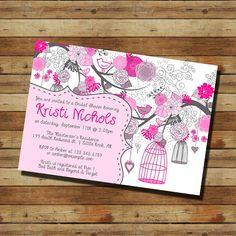 Bird Cage Birdcage Bridal Shower Invitation (digital file) Pink and Gray