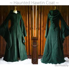 Haunted Hawtin Coat long green coat floor length coat green | Etsy Dress Robes, Coat Dress, Pixie Costume, Goth Costume, Halloween Costumes, Steampunk Coat, Langer Mantel, Medieval Clothing, Green Coat