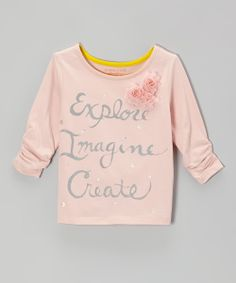 Pearl 'Explore, Imagine, Create' Ruched Tee for Girls.