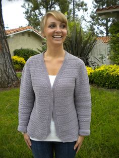 Crochet caridgan pattern features scrolled edges, bust darts and softly contoured shaping. https://www.etsy.com/listing/124334362/scrolled-edge-cardi-crochet-pattern