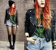 Street style. Red ombre hair, creepers.