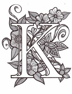 51 Ideas Tattoo Fonts Alphabet Drop Cap For 2019 Coloring Letters, Alphabet Coloring Pages, Free Printable Coloring Pages, Coloring Book Pages, Images Noêl Vintages, Tattoo Fonts Alphabet, Jugendstil Design, Quilled Creations, Fancy Letters