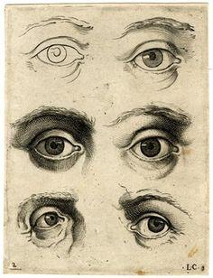 Studies of 6 eyes   Engraving