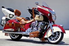 An amazing work of art. A custom two-tone Indian Chieftain Motorcycle.
