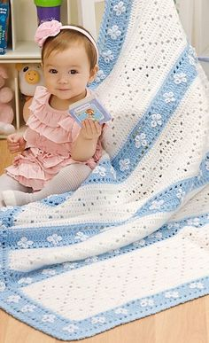 [Free Crochet Pattern] This Sweet Diamonds And Daisies Baby Blanket Makes The Perfect Gift For Any Baby