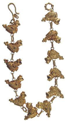 Persian bracelets 200 AD. 22 karat gold bracelet, with twelve bird shaped animals attached to it. Beautiful designs.