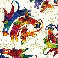 Laurel Burch Flying Aztec Feline Cats Bright by FabricAndTreasures, $9.95 Laurel Burch, Beautiful Artwork, Aztec, Gemstone Jewelry, Bright, Cats, Handmade Gifts, Holiday, Fabric