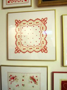 Framing vintage handkerchiefs -- I think my mom has a few of her grandmas' somewhere and I have one of my dad's grandma's!