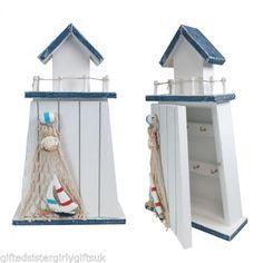 Wooden-Light-House-Key-box-Nautical-Seaside-Style-Key-Rack-Hooks