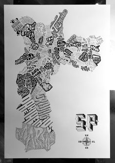 Hand-lettered city map with all the 96 districts of São Paulo.