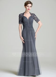 Trumpet/Mermaid Sweetheart Floor-Length Tulle Mother of the Bride Dress With Ruffle (008072705)