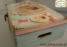 Shabby Chic Mixed Media, Decoupage Scrapbook Make Up Box