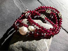 Garnet stackable stretch bracelets. https://www.etsy.com/listing/263330103/womens-red-garnet-pearl-bracelet-red?ref=shop_home_feat_2 #etsymntt #gift #spring