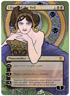 Liliana Nouveau, by Eric Klug. Mtg Planeswalkers, Mtg Altered Art, Mtg Art, Magic The Gathering Cards, Magic Cards, Artist Names, Alters, Drawing Ideas, Veil