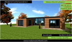 Maison toit plat et toiture terrasse bac acier ou siplast acrotere et couvertine par votre architecte constructeur ossature bois des plans photos a la construction | www.maisonsarchiforet.com