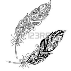 feather vector: Vector Peerless Decorative Feather, Tribal design, Tattoo Illustration