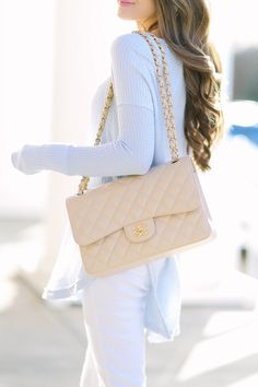 How to Wear Pastels in the Winter Free People thermal top (comes in several colors) // similar white pants Chanel light beige bag, similar here // Baub. - Southern Curls & Pearls: How to Wear Pastels in the Winter Trend Fashion, Fashion Bags, Fashion Accessories, Luxury Fashion, Street Style Inspiration, Mode Inspiration, Luxury Bags, Luxury Handbags, Chanel Handbags