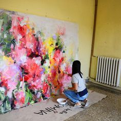 Painting abstract art diy inspiration new Ideas Art Floral, Abstract Flowers, Abstract Art, Collage Kunst, Painting Inspiration, Flower Art, Art Paintings, Acrylic Paintings, Portrait Paintings