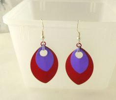 Red and Purple Scale Maille Earrings by EcceRose on Etsy, $7.00