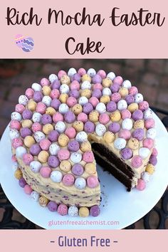 The BEST fudgy Easter Mocha Cake made with a rich gluten free chocolate sponge laced with coffee and covered in vanilla butter icing. #glutenfree #chocolatecake #mochacake #fudgecake #easter #minieggs #eastercake via @gfalchemist Easter Cake Gluten Free, Gluten Free Cakes, Easy Easter Desserts, Easter Recipes, Easter Food, Fudge Cake, Brownie Cake, Brownies, Vanilla Butter Icing