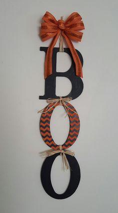 BOO Door Hanger Halloween Decor Chevron BOO Sign by AOneStoryTown
