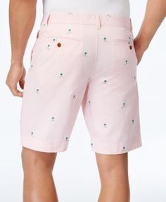 "Tommy Hilfiger Men's 9"" Coastal Palm Cotton Shorts - Pink 40W"