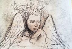 """""""Sono gli angeli tutti tremendi"""" grafite e carboncino su carta, 30x42"""