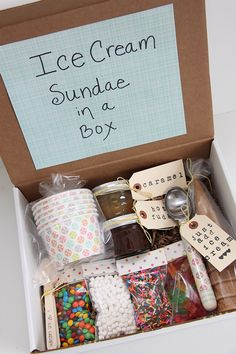 Ice Cream Sundae in a Box Gift Idea - Smashed Peas & Carrots So cute. Would make a great care package for college student. Just add a Gift Card for their local grocery store. Gonna do this...sooner than I want to think about...LOL