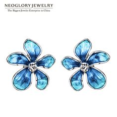 Austria Rhinestone Imitation Enamel Colorful Flowers Stud Earrings For Women Fashion Jewelry  New,Like if you are Excited!Visit our store