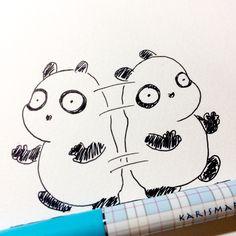 【一日一大熊猫】2016.12.29 仕事場はお休みでも何かしらやる事があって普段できない作業も進めておきたいし。って感じで皆さん結構オロオロしてるかな。 #パンダ