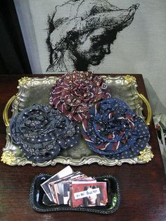 upcycled neckties into flower broaches