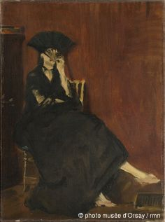 """Edouard Manet, """"Berthe Morisot à l'éventail"""", 1872. Musée d'Orsay. Morisot y Manet se conocieron en 1868. El pintor realizó numerosos retratos de Berthe Morisot en los que ella se presenta como objeto de contemplación, fruto de la mirada masculina y de las categorías de representación patriarcales del arte. En este cuadro, aparece incluso en actitud provocativa, escondiendo su rostro tras el abanico negro y dejando ver su tobillo. #ProgramaNosotras"""