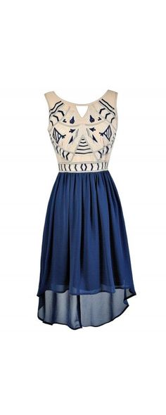 Embroidered High Low Dress in Blue