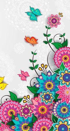 Flowers and butterflies Butterfly Wallpaper, Screen Wallpaper, Cool Wallpaper, Wallpaper Backgrounds, Crea Design, Design Design, Class Design, Cellphone Wallpaper, Cute Wallpapers