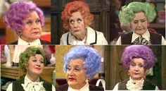 So the bad news is my hair is starting to run out of melanin. The good news is I'll be able to pull of a Mrs Slocombe look and… British Tv Comedies, British Comedy, Are You Being Served, Keeping Up Appearances, Comedy Tv, Comedy Series, Tv Series, British Humor, Remembrance Day