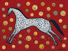 Prosperity Pony. Contemporary Native American digital painting (ledger style art). This painting features a spotted pony, a symbol of wealth in Native American cultures. The horse is surrounded by coins from around the world. I created this artwork with the intention that it be a prosperity charm for anyone who came to have it.  You can hear more about this painting in an audio on my site. Prosperity Pony is available as a giclee print on paper or canvas. It is also available as a postcard.